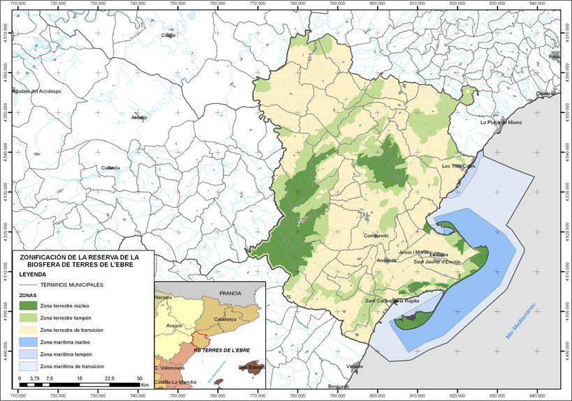 Mapa Terres De L Ebre.World Network Of Island And Coastal Biosphere Reserves